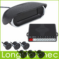 5Sets Front & Rear Black Obstacle Distance Dual View Digital Display Car Parking System with 6 Ultrasonic Radar Sensors