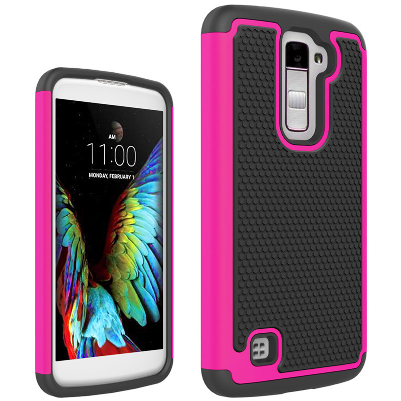Anti-Knock Durable Dual Layer Phone Case For LG K10 Cover Silicon&Plastic Armor Shockproof 2in1 Back Protector Cell phone Case(China)