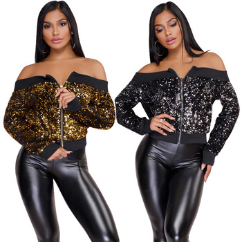 New 2018 Women Ladies Sequins Long Sleeve Off the Shoulder Coat Zipper Jacket Sweatshirt Jumper Pullover