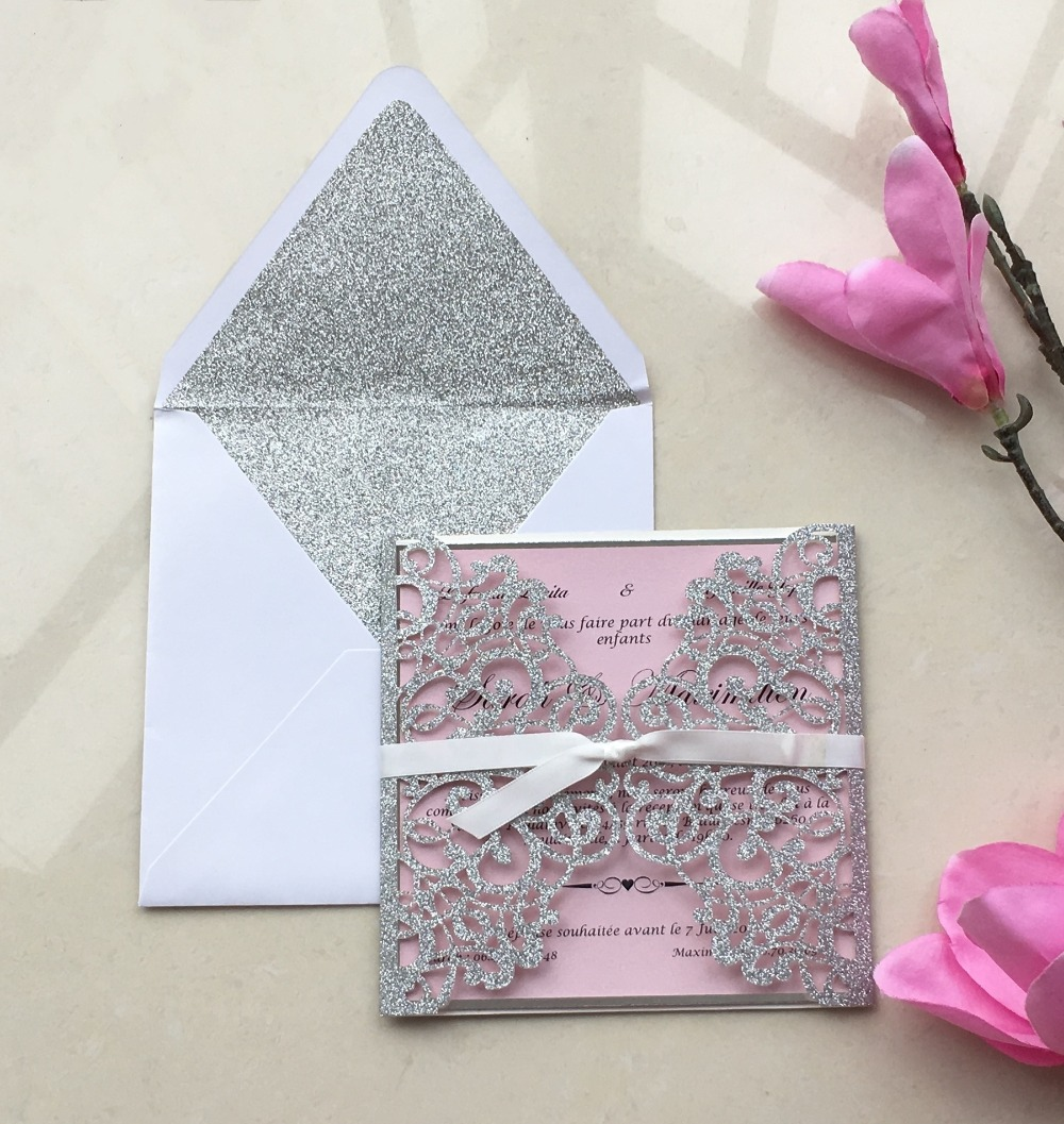 Glitter Silver Laser Cut Wedding Invitation Cards With Ribbon, Customized  Engagement Invitations Kit,100sets