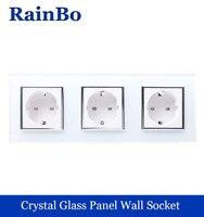 NEW Wall Socket EU Standard Power Socket White Crystal Glass Panel AC 110 250V 16A Wall