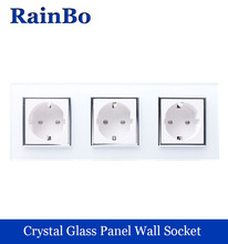 WELAIK 3Frame Wall power Socket EU Standard   Crystal Glass Panel AC 110~250V 16A 222*80mm Wall Socket A38E8E8EW/B