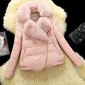 Abrigo de piel de oveja de gamuza de cuero genuino abajo zorro abrigo de piel de color rosa abrigo de invierno de las mujeres chaqueta de cuero genuino envío gratis Nueva Phoenix