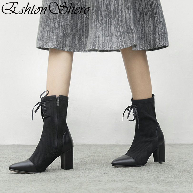 Mujer Leather Brown Cremallera 3 light Zapatos Otoño Up Eshtonshero Tacones Damas Botas Lace Tejer Tamaño Altos Mujeres 12 Cuadrados Black Vaca black Kniting Moto 0PqHwS1