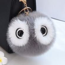 Women Fluffy Pompon Owl Key Chain Holder Cute Faux Rabbit Fur Ball Pompom Keychain Pom Pom Toy Doll Keyring Bag Charms Trinket