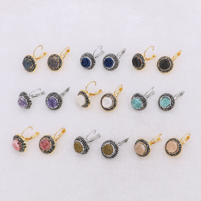 Natural Druzy Earrings Multi Color Stud Whole Jewelry Gem For Women 1215