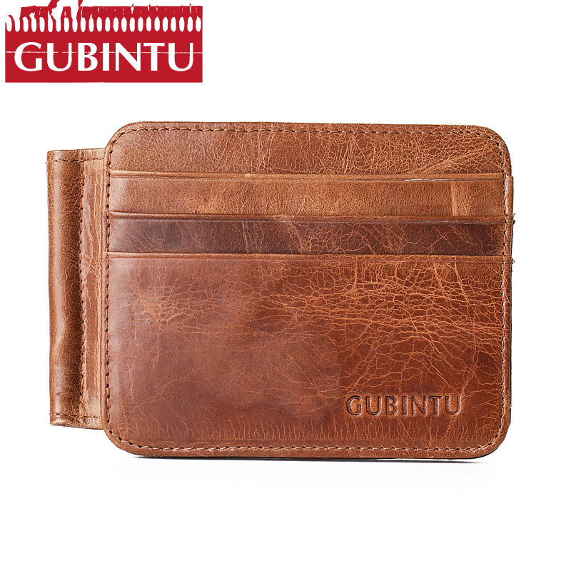Luxury Fashion Magic Money Clips Genuine Leather brown wallet Male Purse Money Clamp Men Leather Card Wallet Cash Clip 12 Cards цена