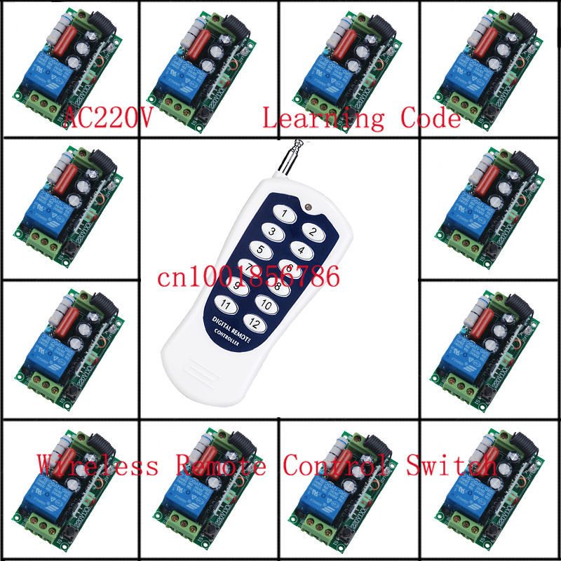 220V 1CH Radio Wireless Remote Control Switch light lamp LED ON OFF 12 Receivers&1transmitter Learning Code Output Adjusted 220v 1ch radio wireless remote control switch light lamp led on off 12 receivers