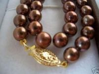 Huge AAA 10 11mm south sea chocolate pearl necklace 18 14k/20 GOLD CLASP