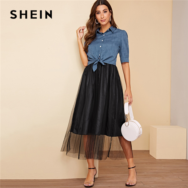 SHEIN Contrast Mesh Slip Dress With Tie Front Shirt Women 2019 Summer Half Sleeve Casual Single Button Front Two Piece Sets