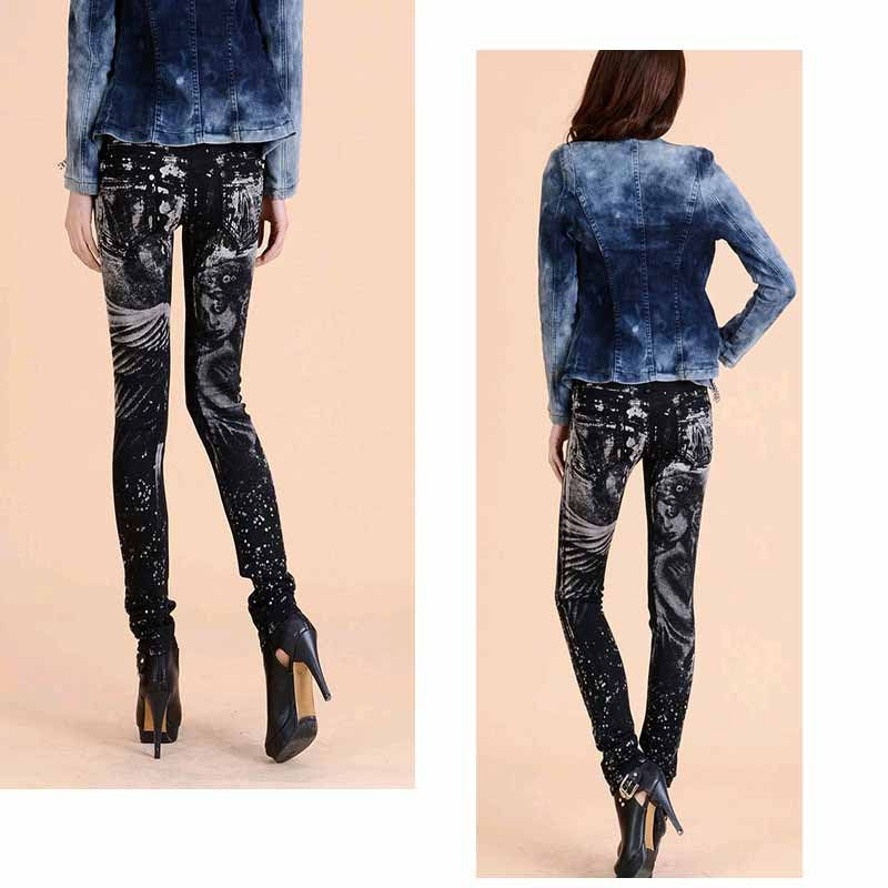 New Fashion jeans woman Casual Black Pencil jean pants Girl drilling printing Pattern jeans Skinny Long womens Capris Female 6