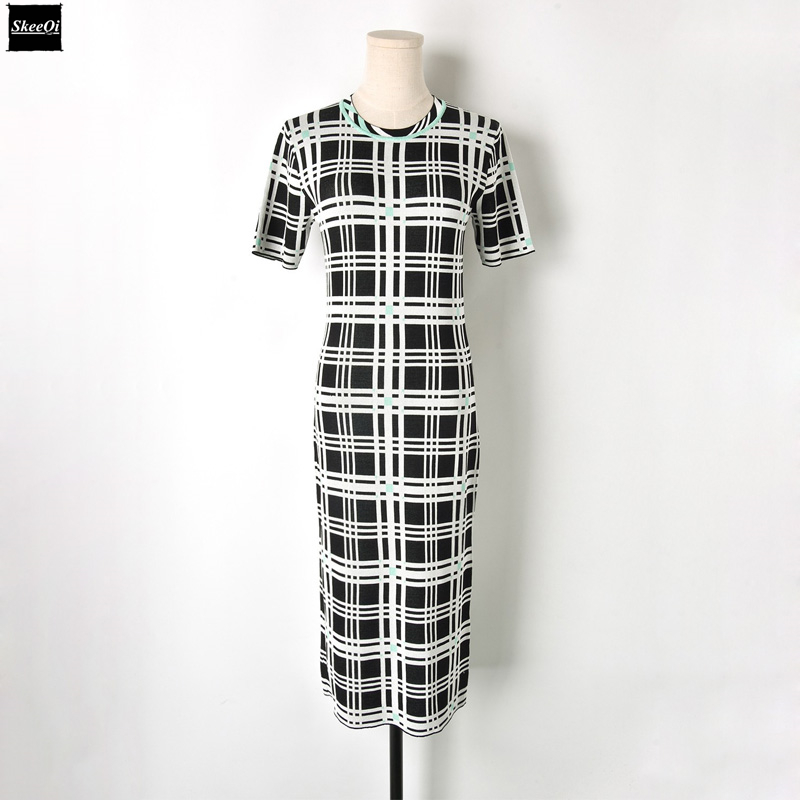 2018 New Runway Design Plaid Bodycon Dress Slim Basic Knit Sweater Dresses Women Knitted Casual Dress Summer Knitwear Vestidos