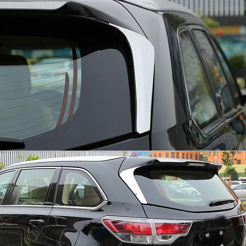 2Pcs Chrome ABS Car Exterior Rear Window Side Triangle Cover Trim For Toyota Highlander 2015 Car styling