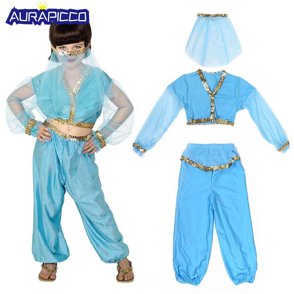 Girl's Arabian Costume Princess Jasmine Aladdin Genie Belly Dance Dress Veil Harem Outfit Halloween Carnival Fancy Dress