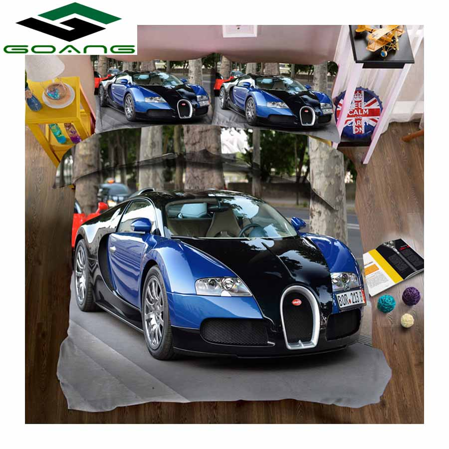 GOANG Bedding Set Bed Sheet Duvet Cover Pillow Case Luxury Bedding Home Textiles 3d Digital Printing Blue Sports Car