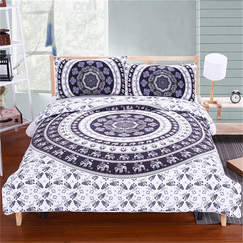 Solar High Quality Luxury Bohemia Mandala Printing Bed Set Queen 12size Bedlinen Bedclothes Bedding Set Datura Elephant Flower Textile