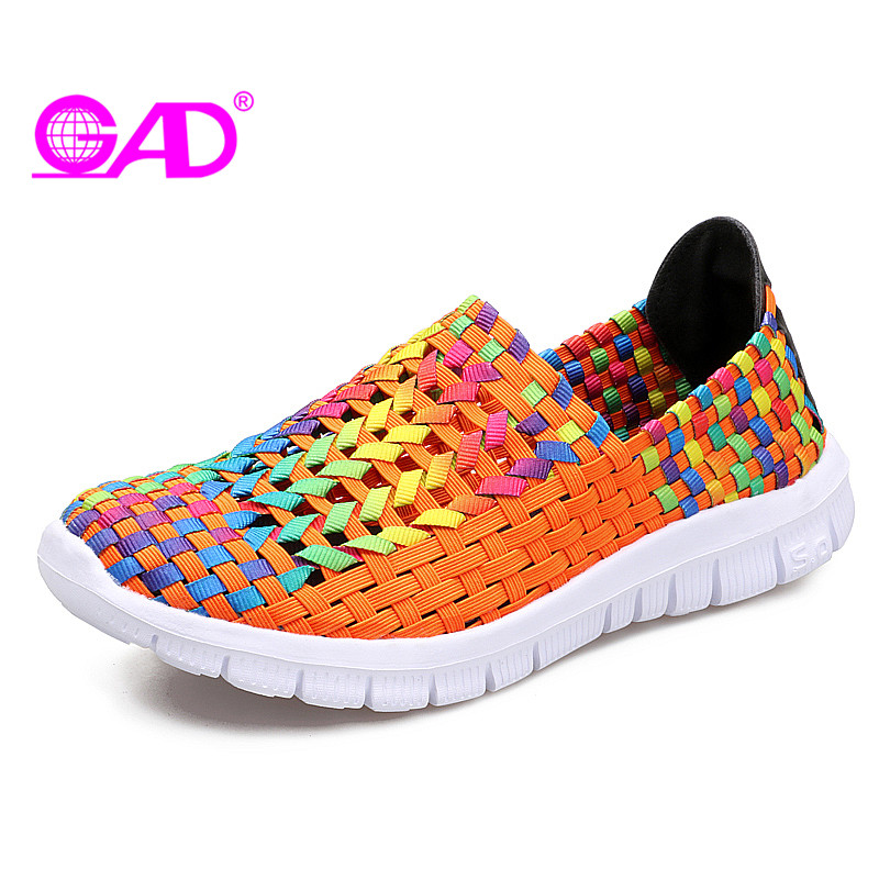 GAD Flat Shoes Women 2018 Spring/Summer Hollow Breathable Women Woven Shoes Fashion Colorful Slip-on Comfort Women Casual Shoes 2018 women summer slip on breathable flat shoes leisure female footwear fashion ladies canvas shoes women casual shoes hld919
