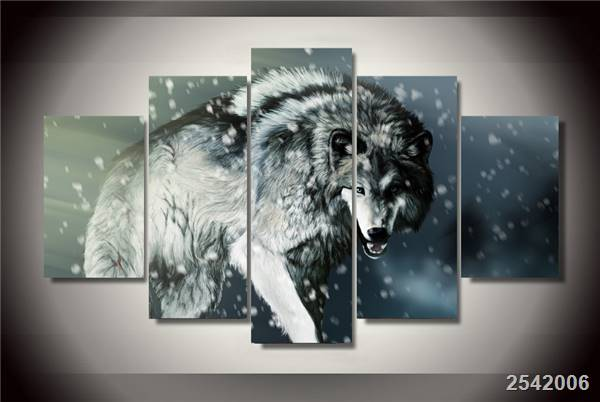 Hd Printed Angry Wolf Animal Painting On Canvas Room Decoration Print Poster Picture Canvas Free Shipping/Ny-2822 Christmas gift