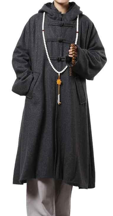 ユニセックス冬暖かいウール瞑想 cloakBuddhist 修道院長 robenun 制服仏教少林寺僧侶ロング戒厳 artscape グレー