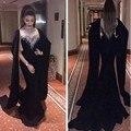 Elegante Nuevo Dubai Caftán Negro Vestidos de Noche 2017 Largo de Cuello Alto Moldeado Cristalino de La Sirena de Gasa Formal Vestidos de Baile ASAED05