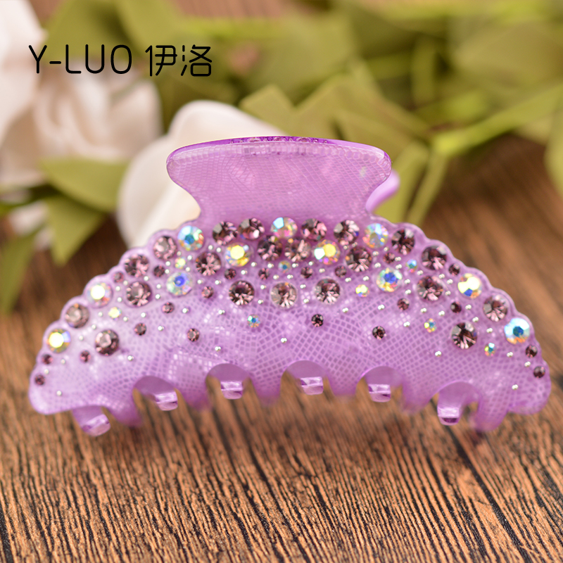 High Quality Luxury Colorful Rhinestone Crystal Cellulose Acetate Hair Claw Clip 10 սմ երկարությամբ ԱՆՎԱՐ առաքում