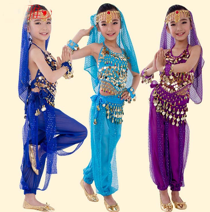 2 PCS Egyptian Belly Dance Costume Indian Sarees India Cheap Dance Cloth Bollywood Skirt 5 Color Genie Pants Kids Indian Dresses-in Belly Dancing from ...  sc 1 st  AliExpress.com & 2 PCS Egyptian Belly Dance Costume Indian Sarees India Cheap Dance ...