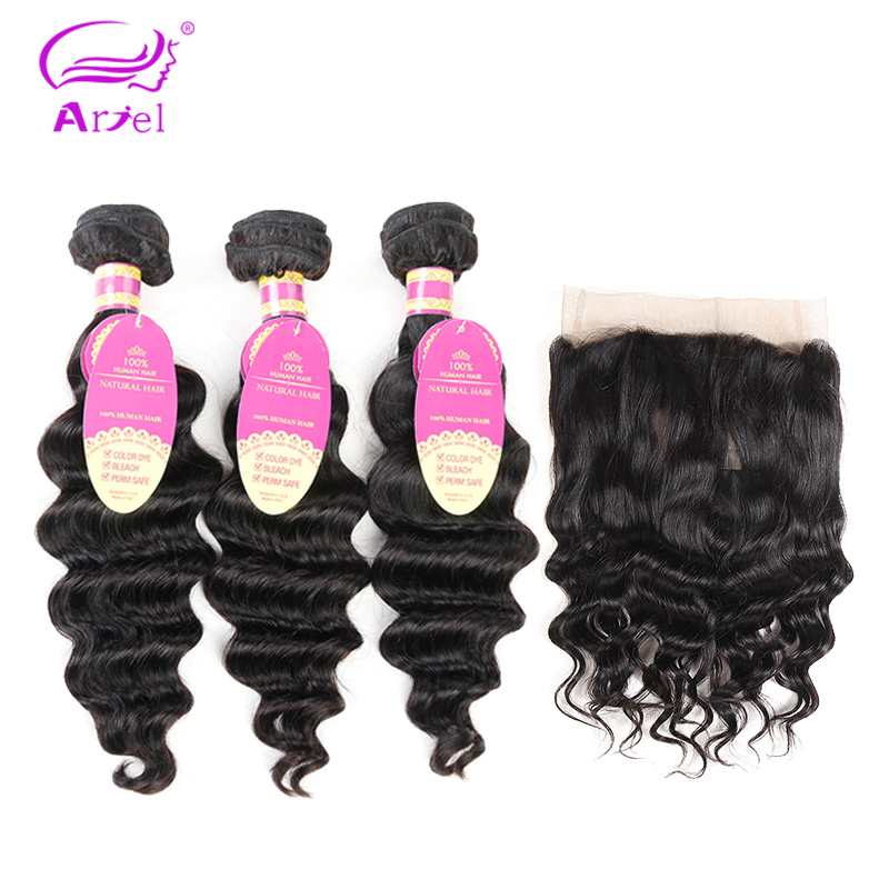 Ariel Brazilian Loose Wave 360 Lace Frontal With Bundle Non remy 8 28 inch Natural Color