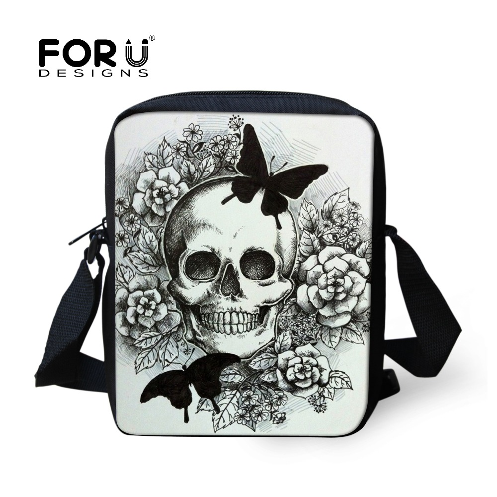 FORUDESIGNS Women Messenger Bags Punk Skull Printed Crossbody Bags for Girl Casual Ladies Bolsa Mini Canvas Shoulder Travel Bag women handbag shoulder bag messenger bag casual colorful canvas crossbody bags for girl student waterproof nylon laptop tote