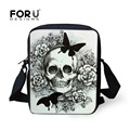 FORUDESIGNS Women Messenger Bags Punk Skull Printed Crossbody Bags for Girl Casual Ladies Bolsa Mini Canvas Shoulder Travel Bag