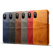 Phone Case Luxury Card Holder PU Leather Slots For iPhone X XR XS Max 7 plus Slim Hybrid Hard Plastic Cover 10 6 6S 8 Plus