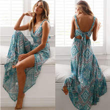 Bohemian Summer Print Floral Long Beach Dress Women Sexy Evening Party Maxi Dresses Sleeveless Backless Holiday Clothes