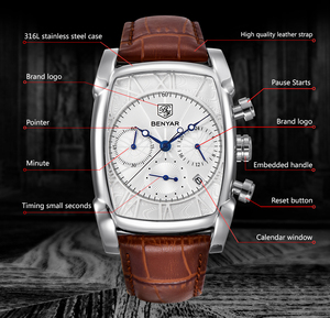 Image 5 - BENYAR Sports Military Men Watches 2019 Top Luxury Brand Man Chronograph Quartz watch Leather Army Male Clock Relogio Masculino