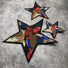 JOD Large Star Style Sewing Biker Patches for Clothes DIY Embroidery Patch Applique Clothing Stickers Decorative Badges @