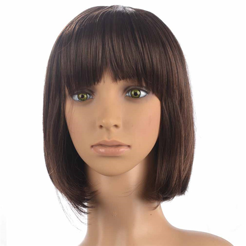 HAIRJOY Short Straight Brown Highlighted Bob With Bangs Synthetic Wig  Women's Wigs