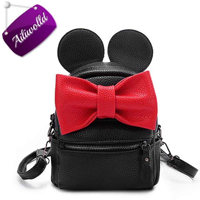 2017 New Mickey Backpack Pu Leather Female Mini Bag Women's Backpack Sweet Bow Teen Girls Backpacks School Bag Mochila Feminina children school bag minecraft cartoon backpack pupils printing school bags hot game backpacks for boys and girls mochila escolar