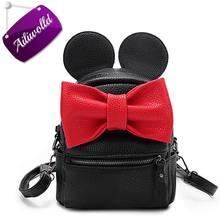 2017 New Mickey Mochila Mochila de Cuero de La Pu Mini Bolso Femenino del bolso de Las Mujeres Dulce Arco Niñas Adolescentes Mochilas Mochila Escolar Mochila Feminina