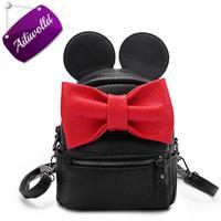 2017 New Mickey Backpack Pu Leather Female Mini Bag Women S Backpack Sweet Bow Teen Girls