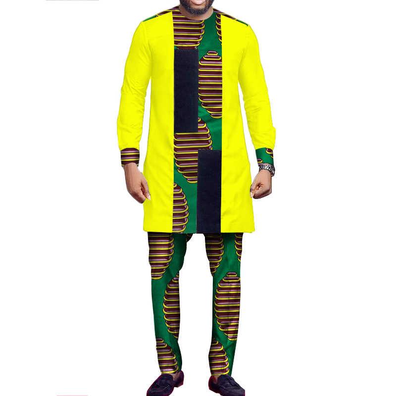 Костюм в африканском стиле для мужчин, Африканский принт, лоскутные топы и брюки, набор для мужчин, с длинным рукавом, Дашики, рубашка, брюки, Базен Риш, Африканский Топ WYN527