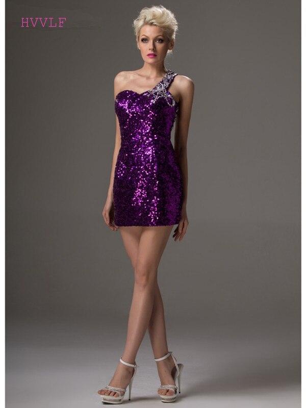 2019 Mode Lila 2019 Cocktail Kleider Elegante Mantel Ein-schulter Short Mini Pailletten Perlen Sexy Party Plus Größe Homecoming Kleider Seien Sie In Geldangelegenheiten Schlau Weddings & Events