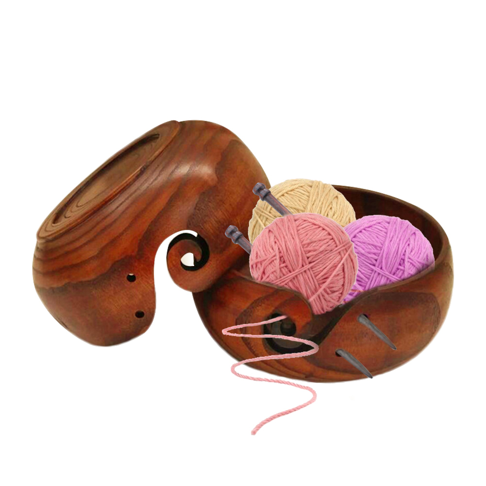 Eco-friendly Wooden Yarn Storage Bowl Organizer for Knitting Crocheting