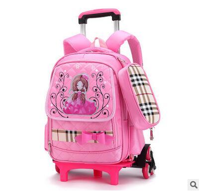 3f831a9e3570 wheeled backpack for girls Trolley School backpacks kid s School Rolling  backpack Children luggage bag School Bags On wheels