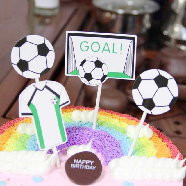 4PCS Football Basketball Baseball Cake Topper For Kids Birthday Party Decoration Set Sport Supplies Boy Themed