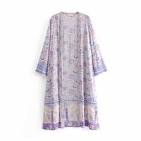 2019 Casual Summer Ladies Kimono Cardigan Loose Purple Floral Printed Blouse Tops Boho Chic Women Long Shirt