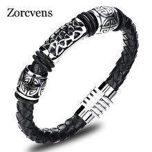 Modyle Real Leather Knitted Man Bangles Vintage Stainless Steel Men Jewelry Fashion 20.5cm Long Mans Friendship Wristband(China)
