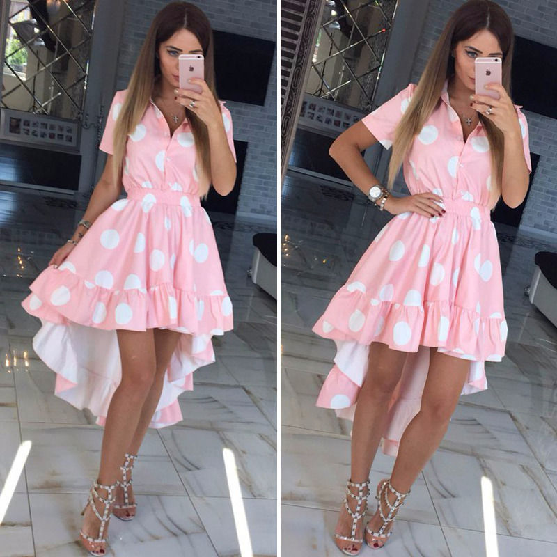 ZOGAA Summer Chiffon Dress Boho Style Beach Dress Fashion Short Sleeve shirt neck Polka Dot A line Party Dress Sundress Vestidos in Dresses from Women 39 s Clothing