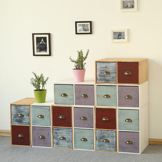 Amerikaanse land massief houten meubels kleurrijke ark vintage verf borstel kleur verwerking