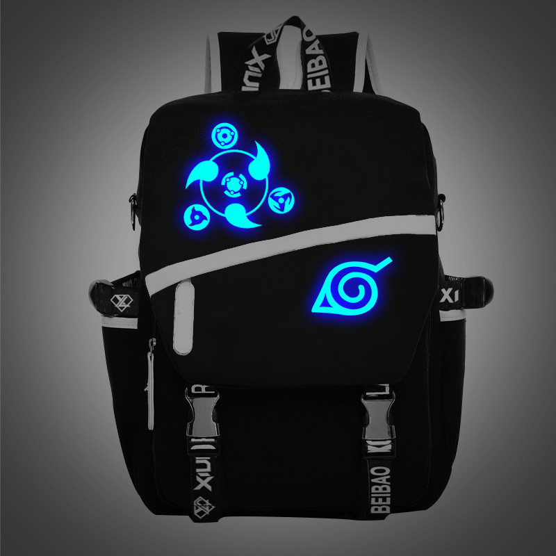 ФОТО Cartoon Noctilucent Naruto Write Round Eye Cosplay Shoulder Bag Men/Women  School Students Canvas Bags Backpacks Schoolbags