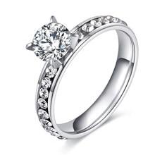 Moda titânio anéis de aço inoxidável para as mulheres círculo cz moda jóias anillo feminino festa casamento jóias anéis atacado