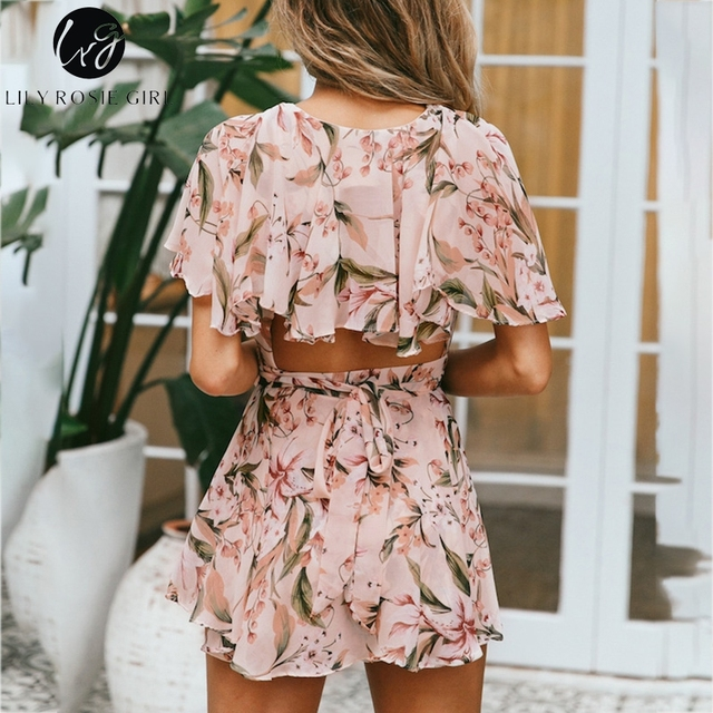 Lily Rosie Girl  Women V Neck Beach Playsuit Bow Print Floral Sexy Boho Playsuit Short Jumpsuit Rompers
