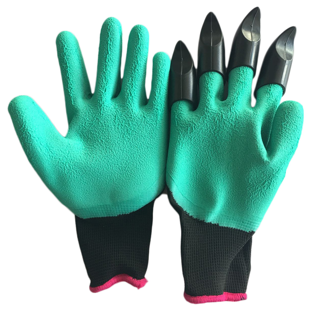 1 Pair Rubber Polyester Builders Garden Work Latex Gloves Garden Gloves with 4 ABS Fingertips Claws Quick Easy to Dig and Plant